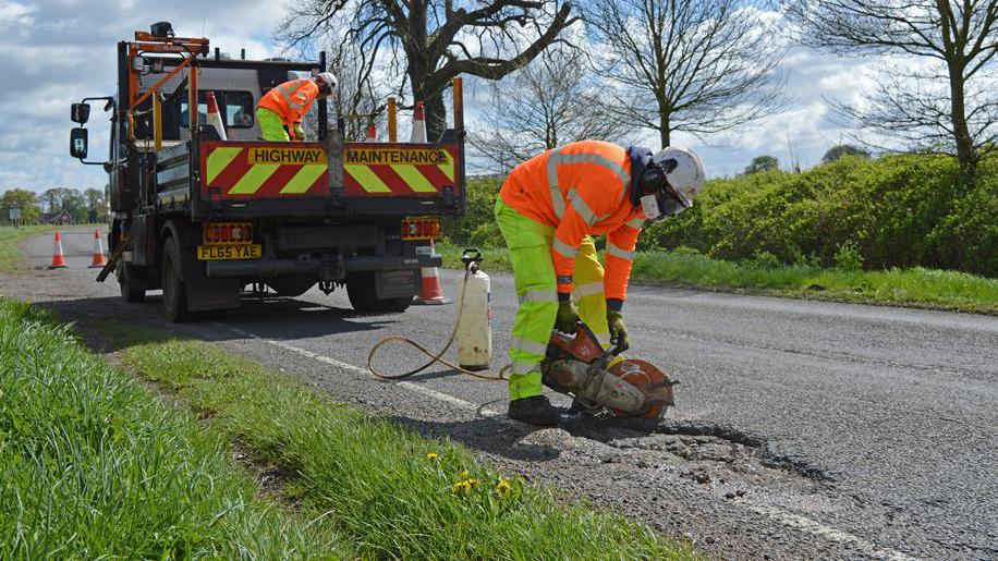 Pothole repair to road