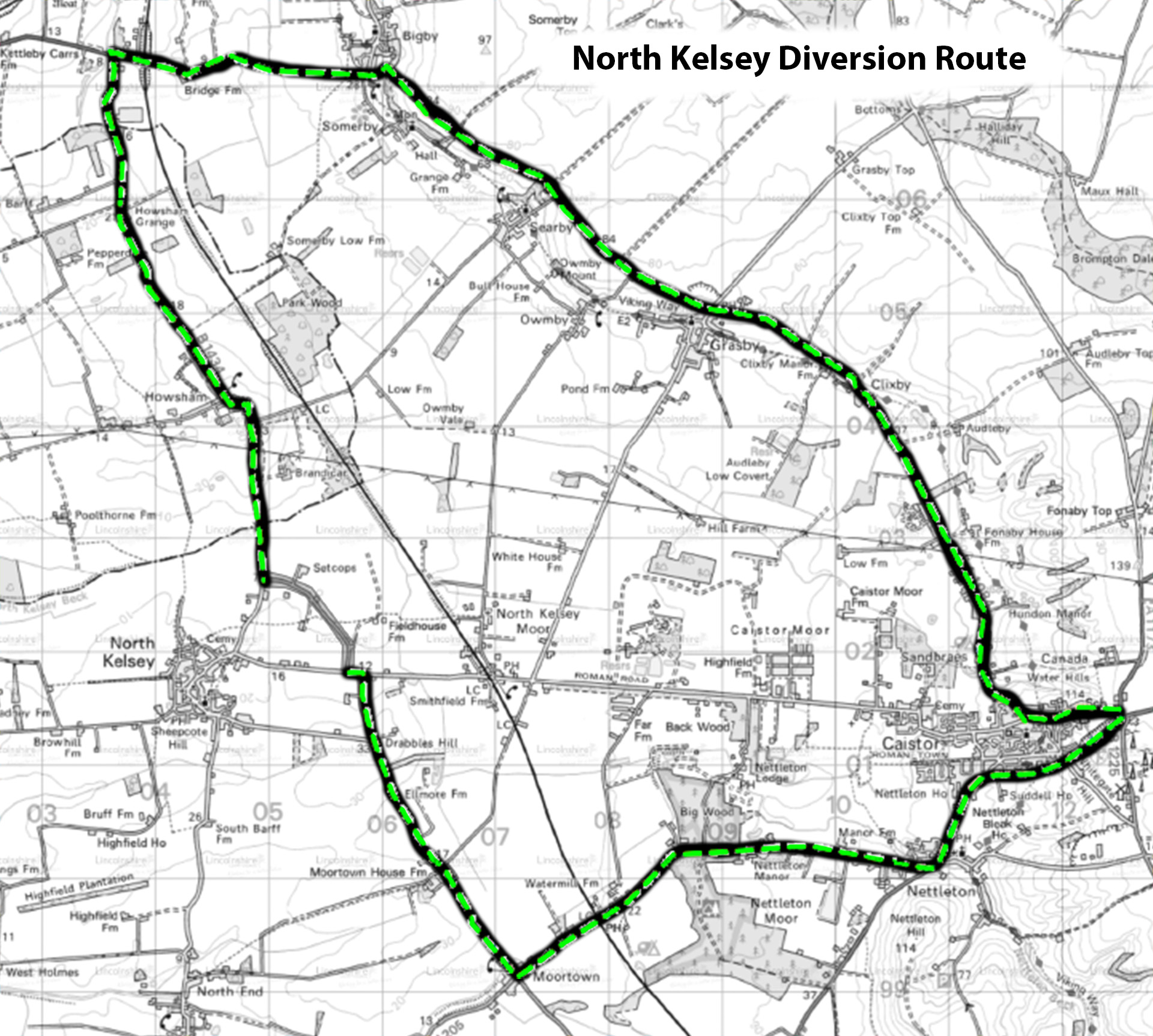 Diversion route b1434 north kelsey