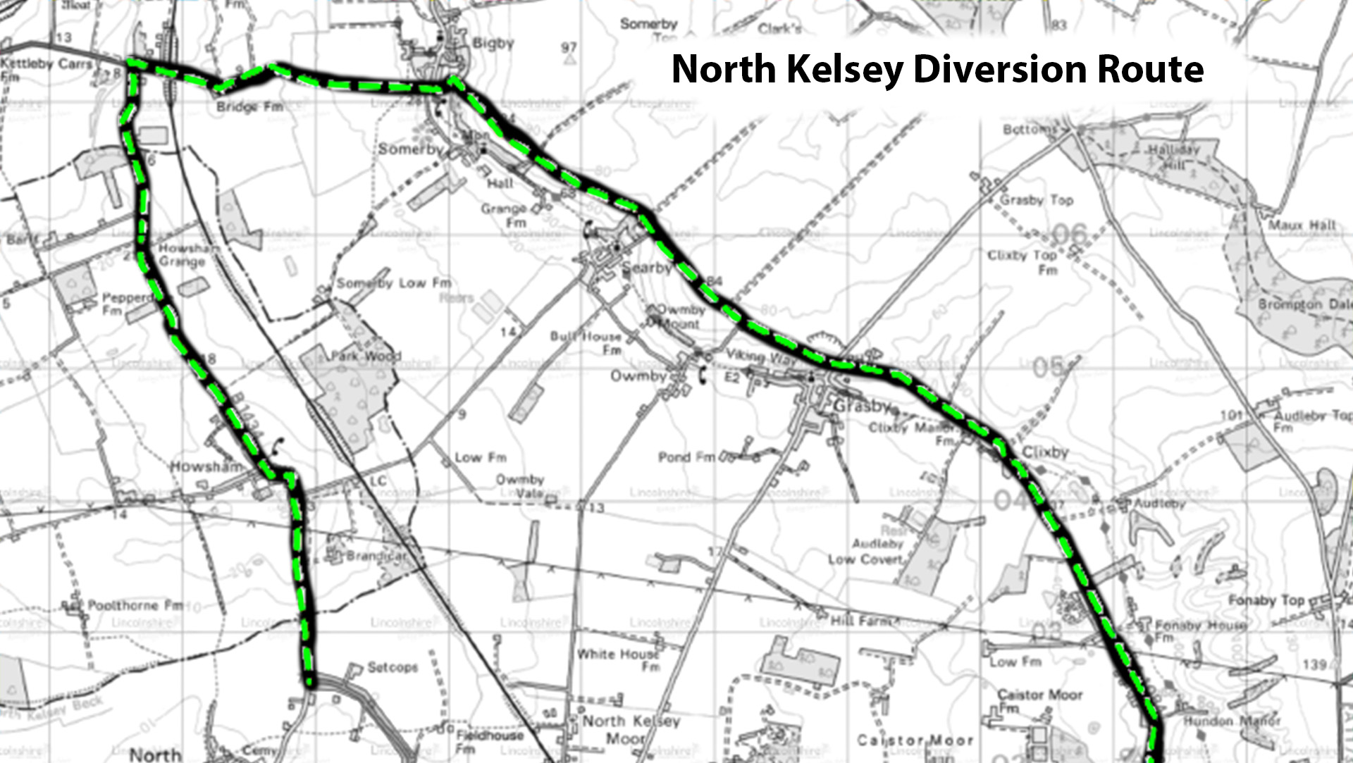 Diversion route b1434 north kelsey graphic