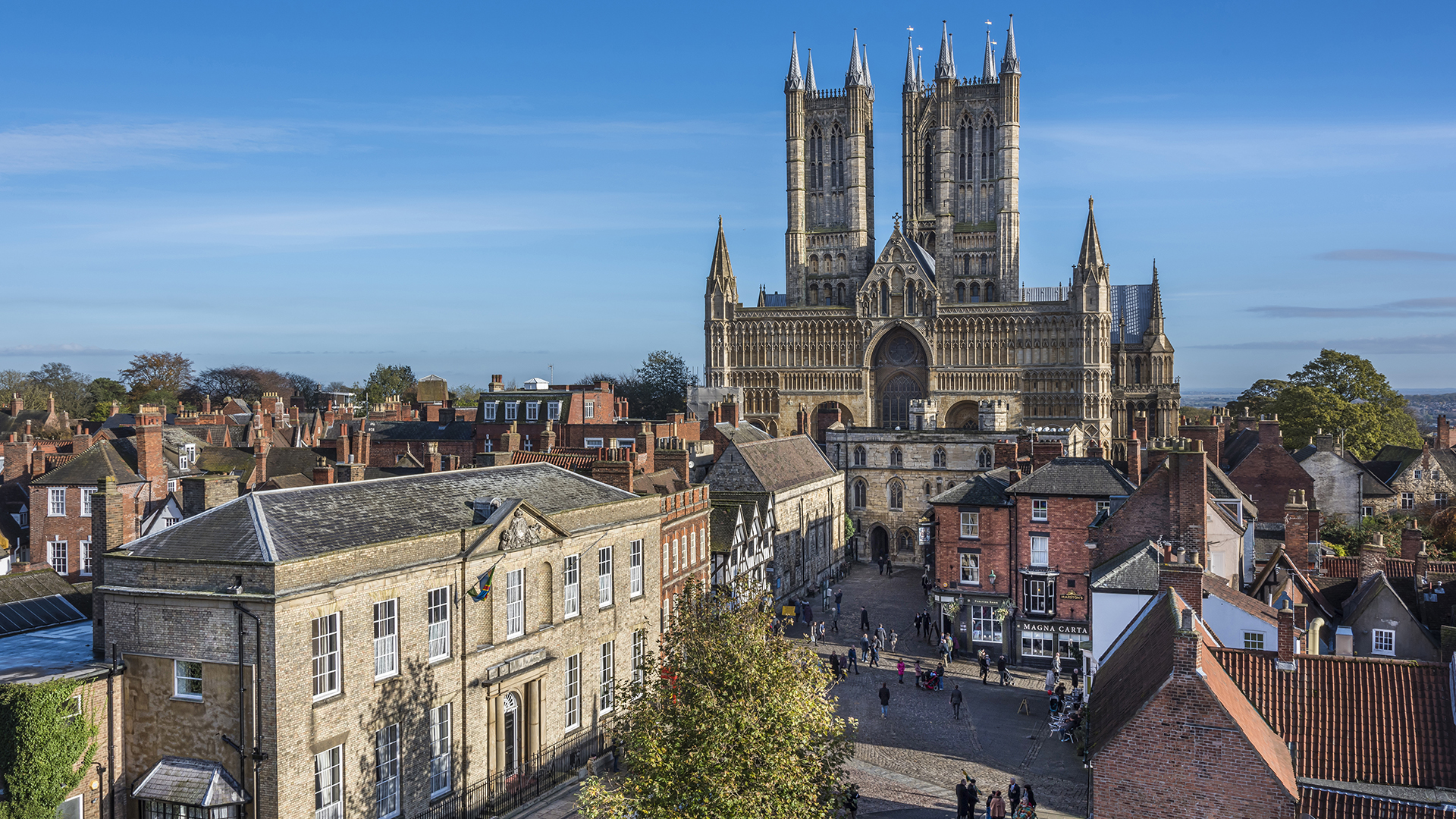 Lincoln cathedral from castle wall