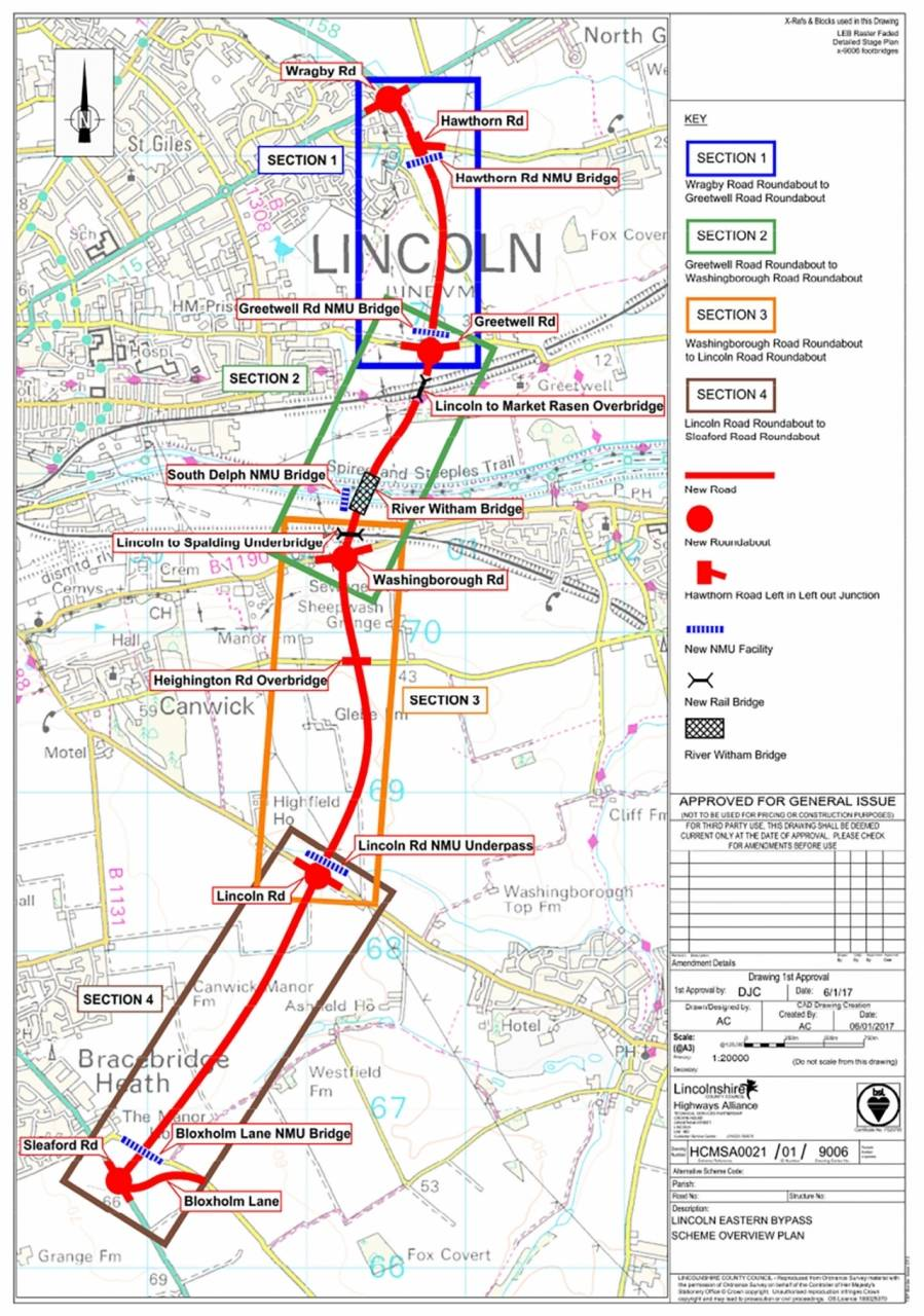Lincoln Eastern Bypass route
