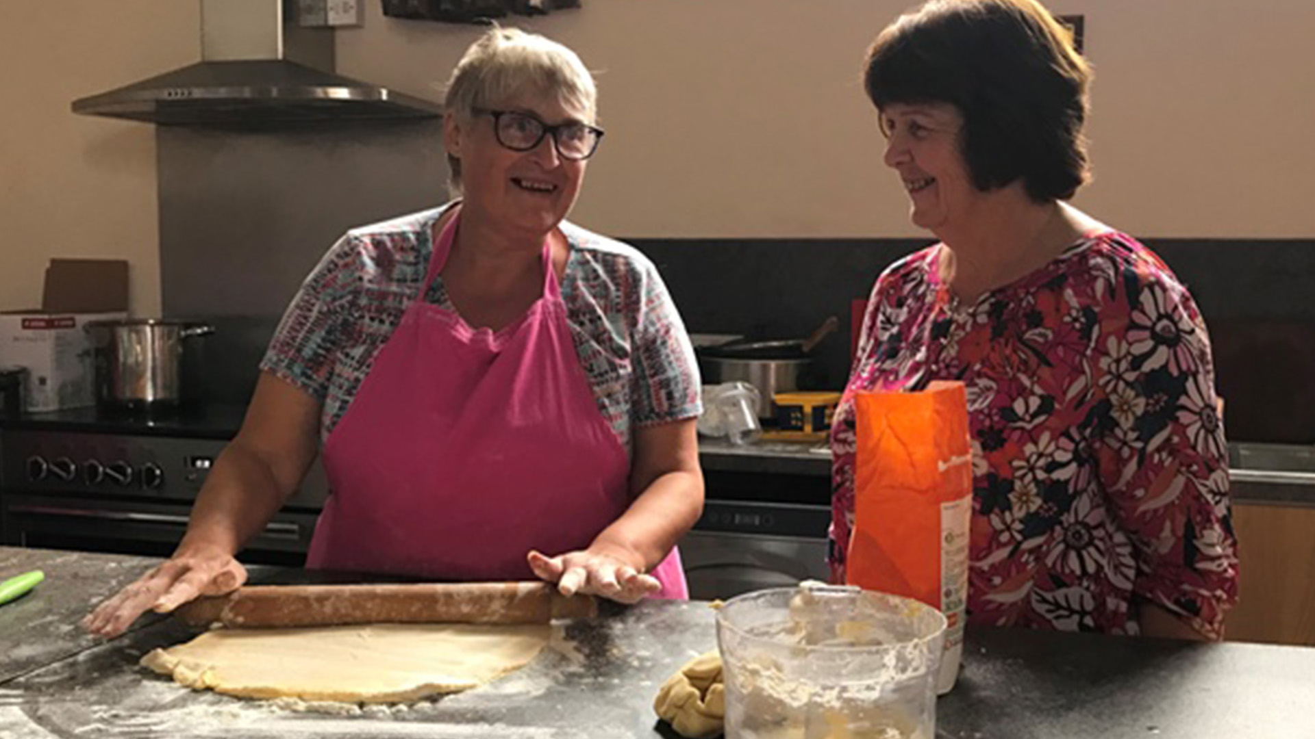 Fiona Blackburn, deputy chair Wragby ChEF preparing pastry with Cllr Mrs Patricia Bradwell