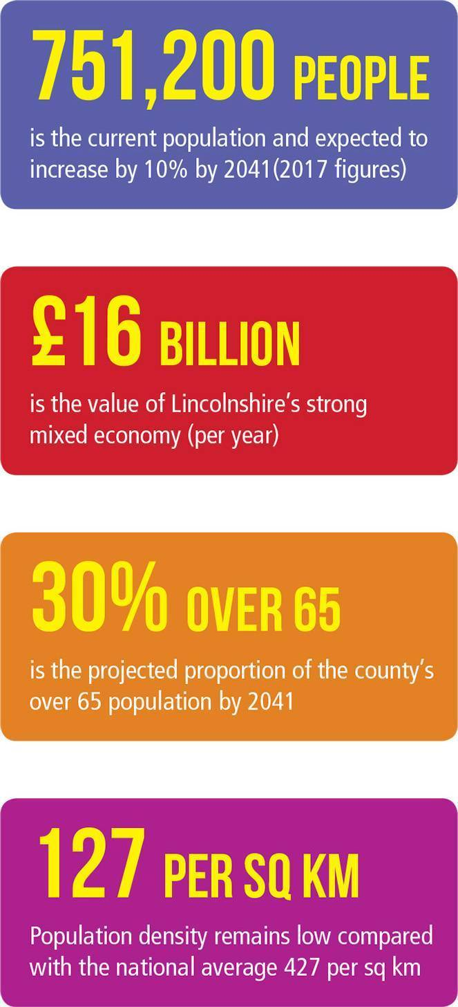 Graphic showing the make up of the population and area of Lincolnshire